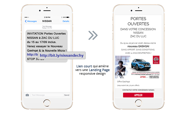 Exemple Campagne SMS avec Landing Page Leroy Merlin