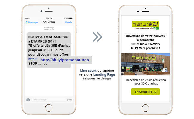 Exemple Campagne SMS avec Landing Page 1